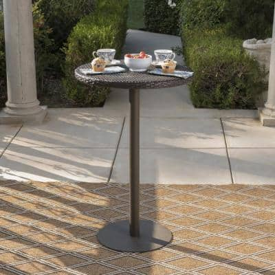 Dominic 26 in. Multi-Brown Round Plastic Outdoor Dining Table