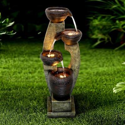"""40""""H Modern Outdoor Fountain - 4 Crocks Outdoor Garden Fountain with Contemporary Design for House and Garden Art Decor"""