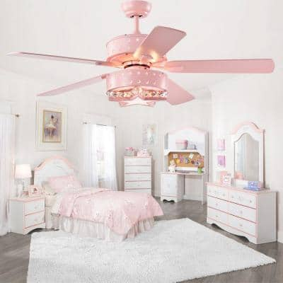 Funder 52 in. Indoor Star Pink Lighted Remote Controlled Ceiling Fan with Light Kit