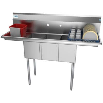 54 in. Freestanding Stainless Steel 3 Compartments Commercial Sink with Drainboard