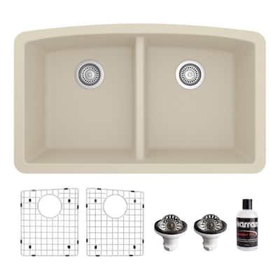 QU-710 Quartz/Granite 32 in. Double Bowl 50/50 Undermount Kitchen Sink in Bisque with Bottom Grid and Strainer