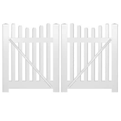 Hampshire 8 ft. W x 4 ft. H White Vinyl Picket Fence Double Gate Kit