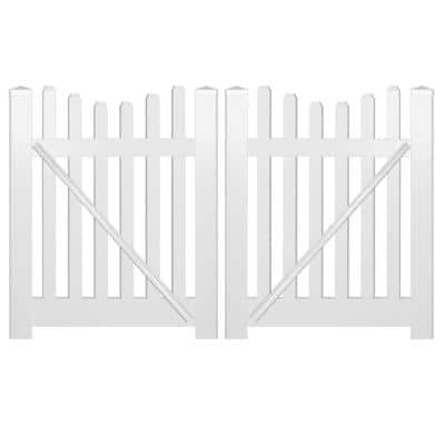 Hampshire 10 ft. W x 4 ft. H White Vinyl Picket Fence Double Gate Kit Includes Gate Hardware