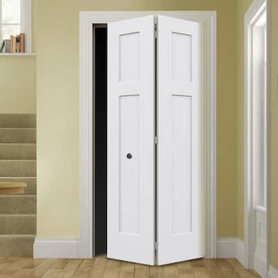 32 in. x 80 in. Smooth 3-Panel Craftsman Hollow Core Molded Interior Closet Composite Bi-Fold Door