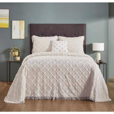 Charleston Collection 4-Piece Ivory King 100% Cotton Bedspread Set