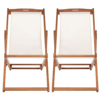 Loren Natural/Beige Wood Folding Sling Lawn Chair (Set of 2)
