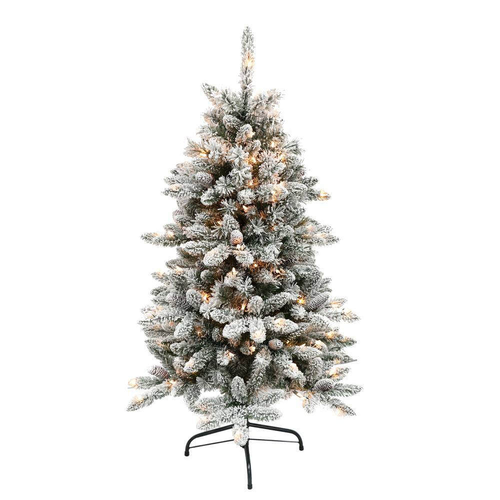 Puleo International 4 5 Ft Pre Lit Flocked Bennington Fir Artificial Christmas Tree With 150 Ul Listed Lights 253 Byg 45c150 The Home Depot