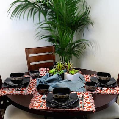 Naina 16-Piece Modern Black Stoneware Dinnerware Set (Service for 4)