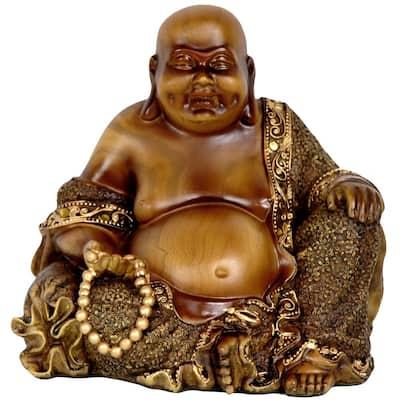 Oriental Furniture 6 in. Sitting Laughing Buddha Decorative Statue