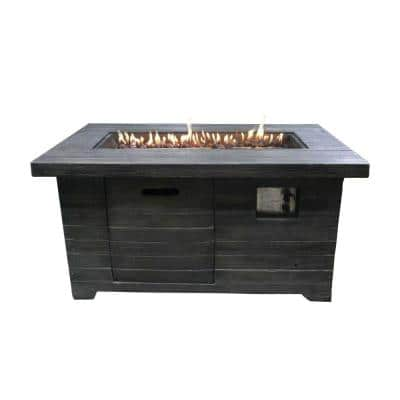 42.3 in. W x 23.6 in. H Gray Rectangular Wood Look Propane Gas Powered Fire Pit with Lava Rocks