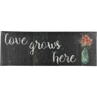 Love Grows Here 19.6 in. x 55 in. Anti-Fatigue Kitchen Mat