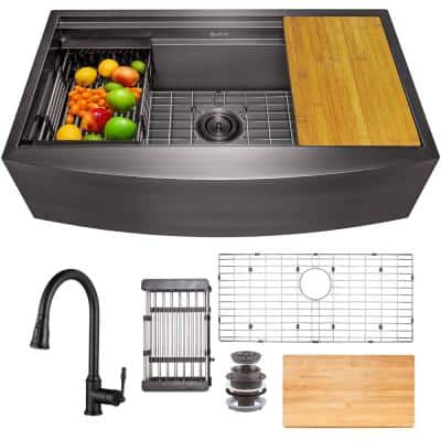 All-in-One Matte Black Finished Stainless Steel 30 in. x 20 in. Farmhouse Apron Mount Kitchen Sink with Pull-down Faucet