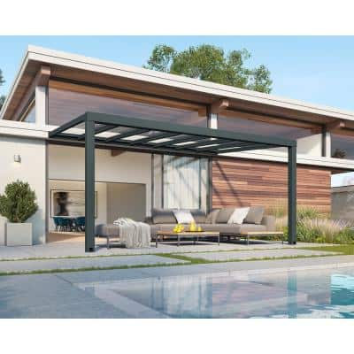 Stockholm 11 ft. x 17 ft. Gray/Clear Aluminum Patio Cover