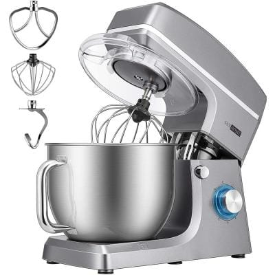 7.5 qt. 6-Speed Silver Tilt-Head Electric Stand Mixer with Accessories and ETL Listed