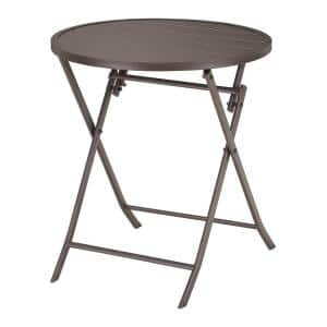 Mix and Match 24.6 in. Dark Taupe Folding Round Metal Outdoor Patio Bistro Table