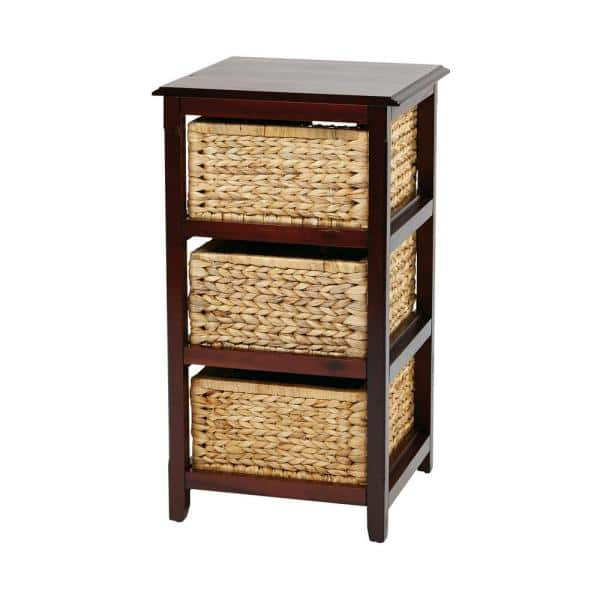 Osp Home Furnishings Seabrook Espresso 3 Tier Storage Unit With Natural Baskets Sbk4513a Es The Home Depot