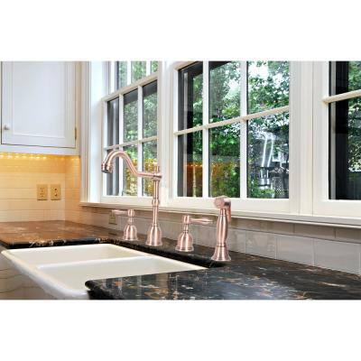 2-Handles Widespread Kitchen Faucet with Side Spray in Copper