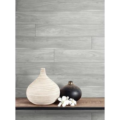 Grey Teak Planks Peel and Stick Wallpaper 30.75 sq. ft.