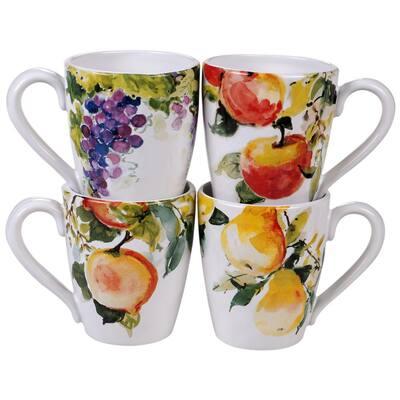 Ambrosia 4-Piece Seasonal Multicolored Earthenware 20 oz. Mug Set (Service for 4)