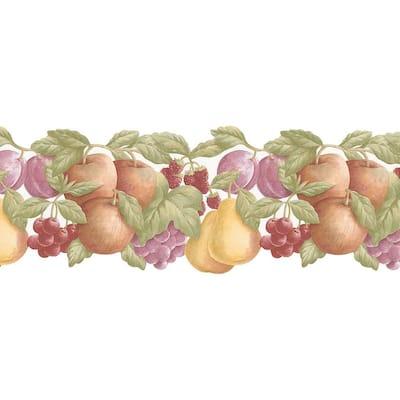 Double Die Cut Fruit Yellow, Red, Pruple, Green Wallpaper Border