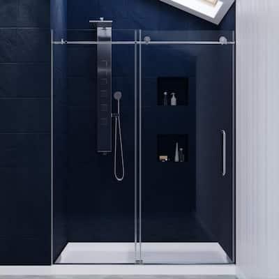 Leon 60 in. x 76 in. Frameless Sliding Shower Door in Chrome with Handle