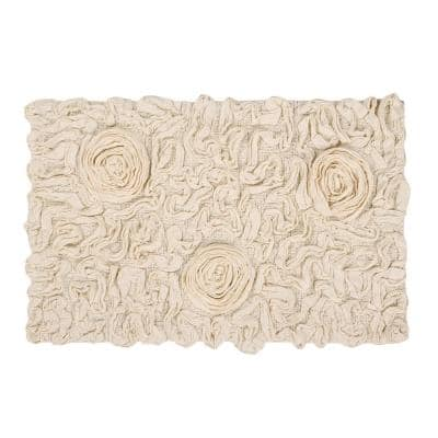 Bell Flower Collection Ivory 21 in. x 34 in. Cotton Bath Rug