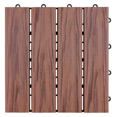 1 ft. x 1 ft. Composite Floor and Decking Tile in Brown (12-Pack)