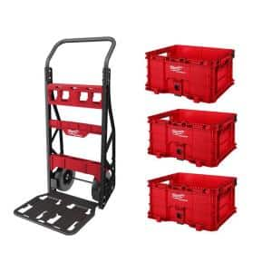 PACKOUT 20 in. 2-Wheel Utility Cart with (3) PACKOUT Tool Storage Crates