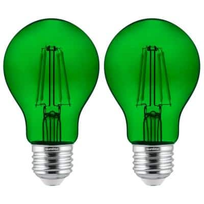 60-Watt Equivalent A19 Dimmable Filament E26 Medium Base LED Light Bulb in Green (2-Pack)