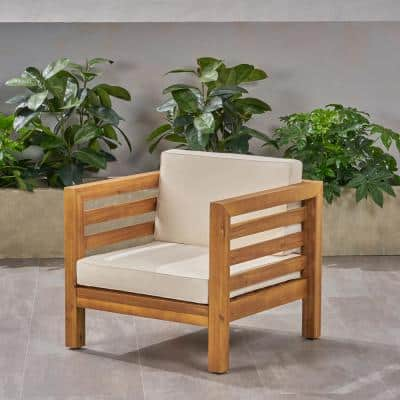 Oana Teak Brown Removable Cushions Wood Outdoor Lounge Chair with Beige Cushions