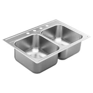1800 Series Stainless Steel 33 in. 4-Hole Double Bowl Drop-In Kitchen Sink with 9 in. Depth