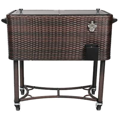 80 Qt. Wicker Patio Rolling Cooler Black/Brown