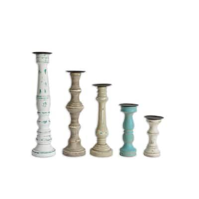 Avarie Wood Candle Holder Assortment - Set of 5