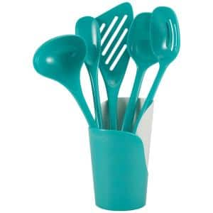 Melamine Utensils and Crock in Turquoise (Set of 6)