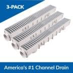 5 in. Pro Channel Drain Kit 5-1/2 in. x 39-3/8 in. Deep Channel, Galv. Steel Grates, End Caps/Outlet (3-Pack=9.8 ft)
