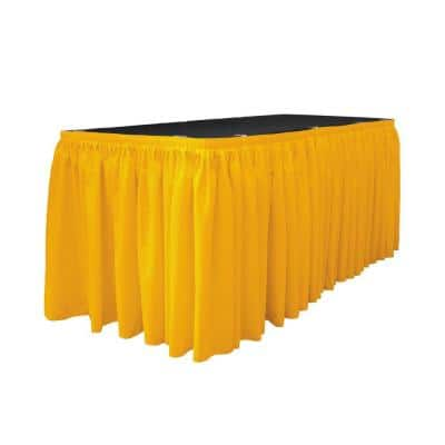 14 ft. x 29 in. Long Dark Yellow Polyester Poplin Table Skirt with 10 L-Clips