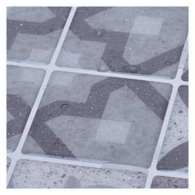 Gray Flower Mexican 11.8 in. x 11.8 in. Vinyl Peel and Stick Backsplash Tile (9.7 sq. ft./Pack)