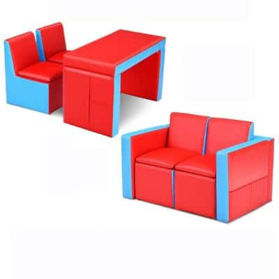 Kids Sofa Red Multi-Functional Table Chair Set