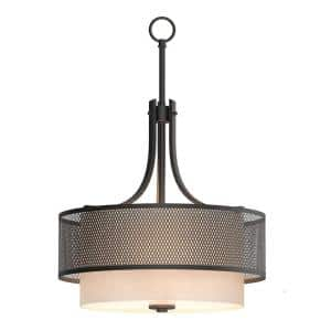 Summit Collection 3-Light Bronze Mesh Pendant with Inner Cream Fabric Shade