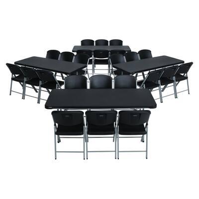 28-Piece Black Stackable Folding Table Set