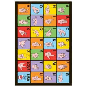 Fun Time Sign Language Multi Colored 3 ft. x 5 ft. Area Rug