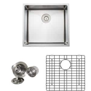 The Chefs Series Undermount 21 in. Stainless Steel Handmade Single Bowl Kitchen Sink Package