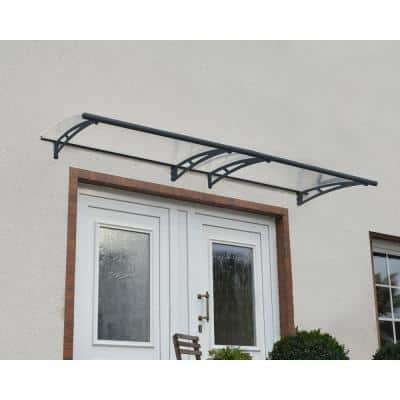 Aquila 3 ft. x 10 ft. Gray/Clear Door and Window Awning