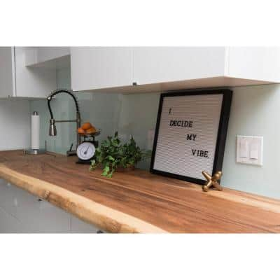 Acacia 8 ft. L x 25 in. D x 1.5 in. T Butcher Block Countertop in Mineral Oil Stain with Live Edge