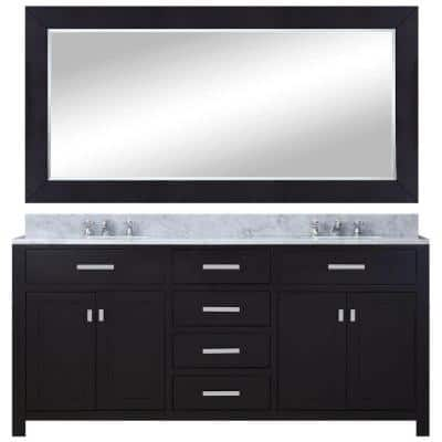 60 in. W x 21 in. D Vanity in Espresso with Marble Vanity Top in Carrara White, Mirror and Chrome Faucets