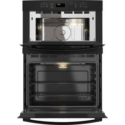 27 in. Double Electric Wall Oven with Built-In Microwave in Black