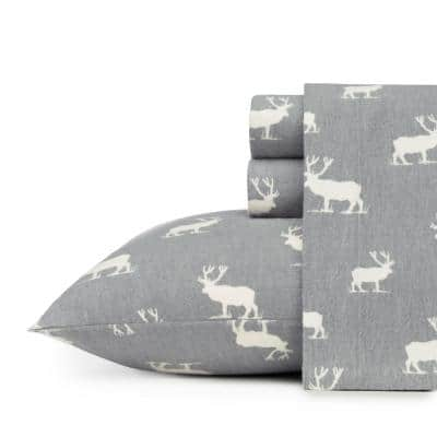 Elk Grove 4-Piece Light Gray Graphic Flannel Full Sheet Set