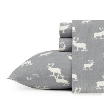 Elk Grove 4-Piece Light Gray Graphic Flannel Queen Sheet Set