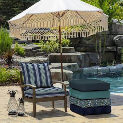 24 in. x 24 in. Sapphire Aurora Stripe 2-Piece Deep Seating Outdoor Lounge Chair Cushion