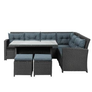 Black 6-Piece Wicker Outdoor Sectional Sofa Couch All Weather Deck Conversation Set with Black Cushion